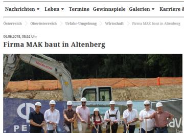 MAK | Rundschau Spatenstich 30.05.2018 Altenberg bei Linz
