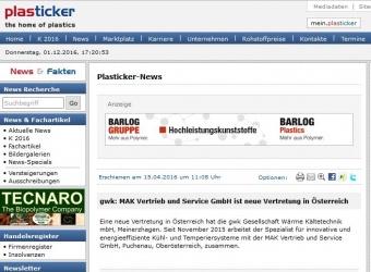 MAK Plasticker - Neue Vertretung von gwk seit 01.11.2015